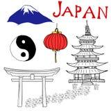 日本乱画元素 与Fujiyama山、神道的信徒的门、日本灯笼和塔,尹和杨标志的手拉的集合 凹道 皇族释放例证
