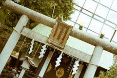 日本人在神田寺庙的Torii门在千代田,东京,日本 图库摄影