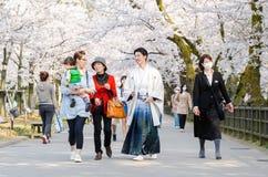 日本人在tradditional随员穿戴了在美丽的樱花街道在Kenrokuen和今池城堡附近 库存照片