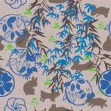 日本人星期一竹富士兔子褐色蓝色织品无缝的样式 皇族释放例证