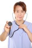 日本人Femal With Stethoscope医生 库存图片