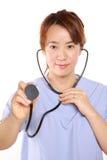 日本人Femal With Stethoscope医生 图库摄影