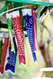 日本人Koi鱼旗子,装饰的儿童的天 库存照片