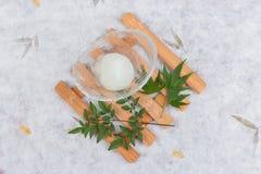 日本人Yuzu冰糕顶视图为在玻璃碗的一个瓢服务在washi日文报纸的木茶碟 库存图片