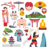 日本传染媒介日本文化和艺妓和服的有开花的佐仓在东京例证套Japanization标志 皇族释放例证