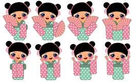 日本传统服装的女孩 免版税库存照片