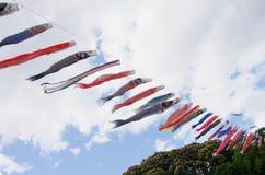 日本传统五颜六色的鲤鱼型飘带 库存图片