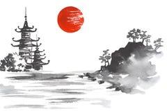 日本传统日本绘的Sumi-e艺术Sun湖小山山寺庙 免版税图库摄影