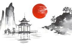 日本传统日本绘的Sumi-e艺术Sun湖河小山寺庙山 库存照片