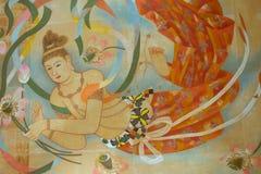 日本佛教寺庙天花板绘画 免版税图库摄影