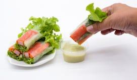 日本健康的螃蟹沙拉 库存图片
