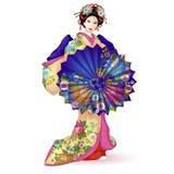 日本全国玩偶在一件蓝色和服的Hina Ningyo有伞的 用与菊花的一个样式和和服装饰的伞 库存照片