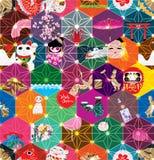 日本六角形星作用无缝的样式 库存图片