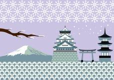 日本冬天地标和文化传染媒介 库存照片