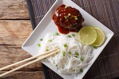 日本午餐:汉堡牛排或hambagu与调味汁和米noo 库存照片