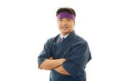 日本厨师的画象 免版税库存照片