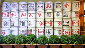 日本圆的箱子墙壁 图库摄影