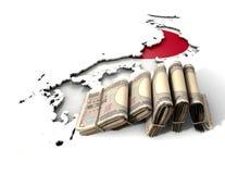 日本地图和被折叠的笔记 免版税库存照片