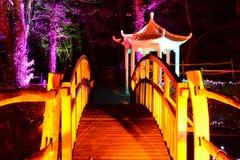 日本塔和人行桥 免版税库存图片