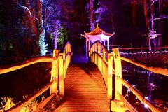 日本塔和人行桥 库存图片
