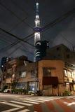 日本塔,住宅房子,步行斑马线 图库摄影