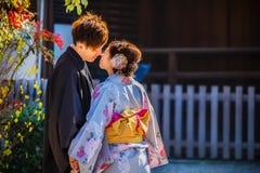 日本夫妇在京都 库存照片