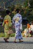 日本妇女走 免版税图库摄影