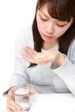 年轻日本妇女遭受忧郁 库存图片