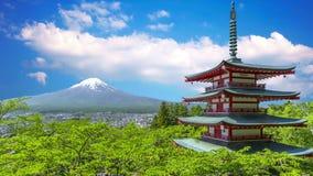 日本寺庙和富士山视图 影视素材