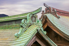 日本寺庙屋顶  免版税库存照片