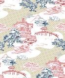 日本寺庙视图传染媒介样式杉木山 免版税库存图片