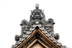 日本寺庙顶面屋顶细节  库存图片