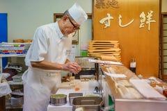 日本寿司厨师 库存照片