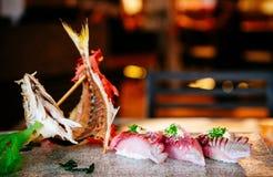 日本寿司生鱼片新鲜的Aji鱼或金枪鱼 库存照片