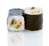 日本寿司用鳗鱼和黄瓜 免版税库存图片
