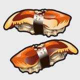 日本寿司用鳗鱼,食物传染媒介象 免版税库存照片