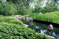 日本庭院和池塘在圣保罗 免版税库存图片