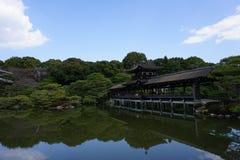 日本庭院在Heian津沽,京都,日本 库存照片