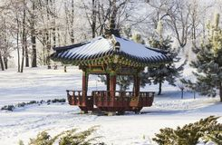 日本庭院房子在一个多雪的冬天庭院里 库存图片