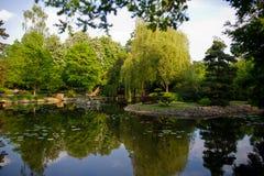 日本庭院的风景区 免版税图库摄影