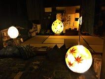 日本式、蒲团和灯笼 免版税库存照片