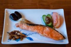 日本式烤三文鱼 免版税库存照片