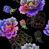 日本式牡丹花  五颜六色的样式无缝的背景 皇族释放例证