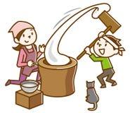 日本捣的米事件 向量例证