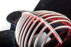 日本操刀的Kendo顶视图的防护盔甲`人` 免版税图库摄影