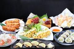 日本料理盘品种  免版税库存照片