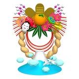 日本新年装饰和山 免版税库存图片
