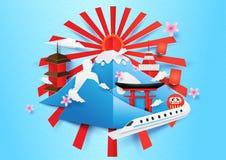 日本旅行概念背景 纸艺术和工艺样式 免版税图库摄影