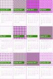 日本月桂树和电紫罗兰上色了几何样式日历2016年 库存照片
