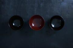 日本木碗 免版税库存图片
